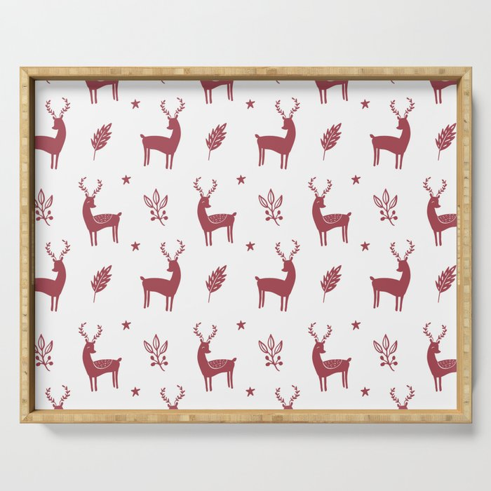 Christmas Red Reindeers Serving Tray