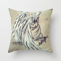 angel wings Throw Pillows featuring Angel Wings by Buttercream Art