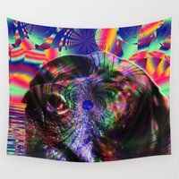 lab Wall Tapestries featuring Black Lab Nose by Roger Wedegis