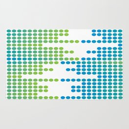 GREEN AND BLUE DOTS Abstract Art Rug