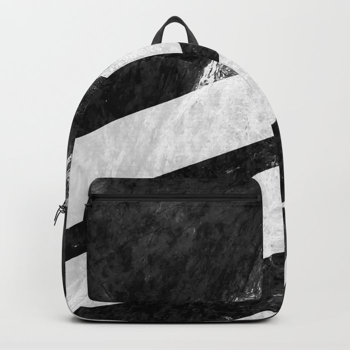 Black Striped Marble Backpack