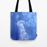jelly fish Tote Bags featuring Jelly Fish by Lise Dumas Richard