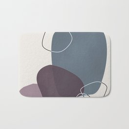 Abstract Glimpses in Peninsula Blue and Aubergine Bath Mat