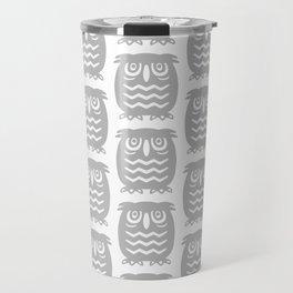 Mid Century Owl Pattern Grey Travel Mug