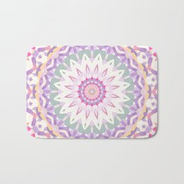Calypso Mandala in Pastel Pink, Purple, Green, and White Bath Mat