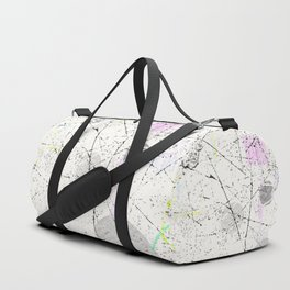 Abstract White with light pastel geometrical pattern Duffle Bag