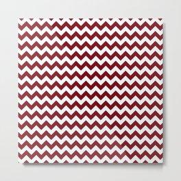 Burgundy white modern geometrical chevron pattern Metal Print