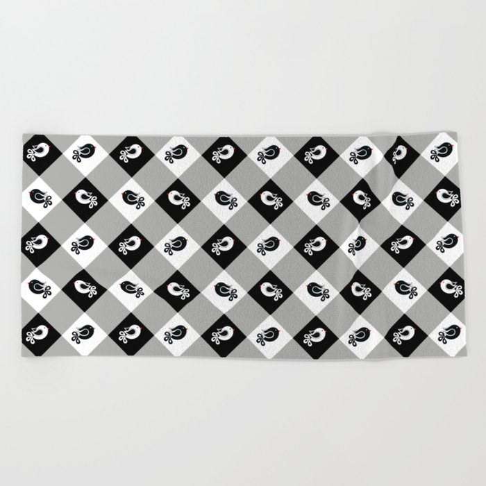 black and white birds 1 Beach Towel