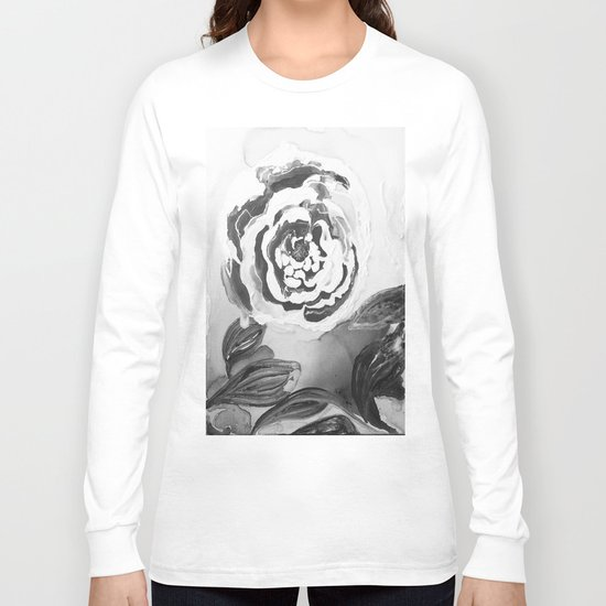 Mother's Day Roses Silver Year Black and White Long Sleeve T-shirt
