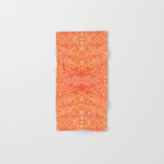 Red and orange swirls doodles Hand & Bath Towel