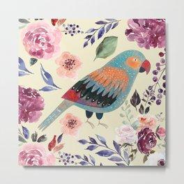 Parrot Art Floral Watercolor Painting Metal Print