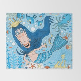 Quirky Mermaid with Sea Friends, Blue version Throw Blanket