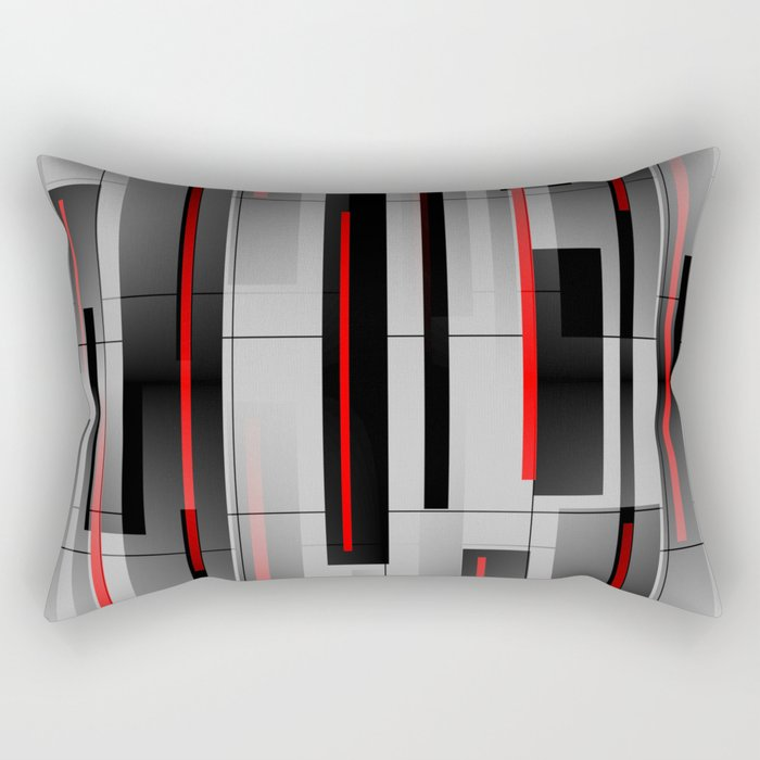 Off the Grid - Abstract - Gray, Black, Red Rectangular Pillow