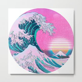 Vaporwave Great Wave Aesthetic Sunset Metal Print