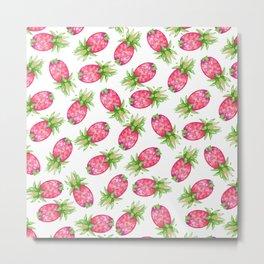 Hot pink green watercolor tropical pineapple fruit pattern Metal Print
