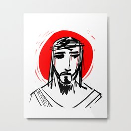 Jesus Christ Face Metal Print
