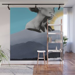 Over The Mountains - Smoking Woman Wall Mural