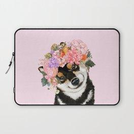 Black Shiba Inu with Flower Crown Pink Laptop Sleeve