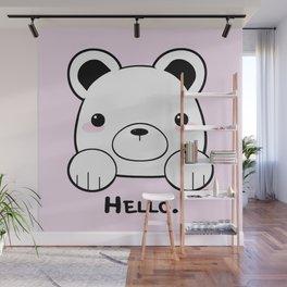 Pink Girly Girl Hello Bear Kawaii! Awww She Just Wants To say Hello! Wall Mural