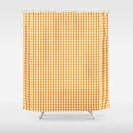 Pumpkin Orange and White Gingham Check Plaid Shower Curtain