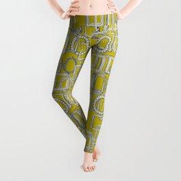 picture frames aplenty indigo chartreuse Leggings