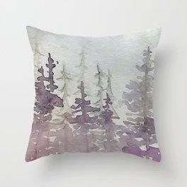 Purple Foggy Trees Throw Pillow