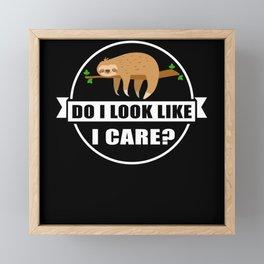 Do I Look Like I Care Sloth Lazy Framed Mini Art Print