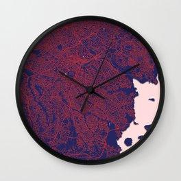 Kampala, Uganda, Blue, White, City, Map Wall Clock