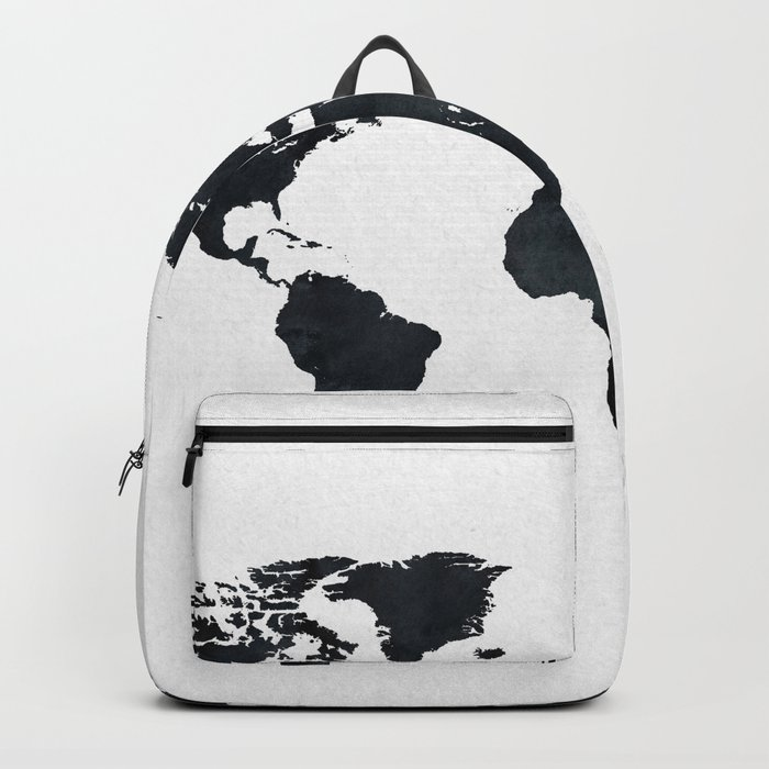 World Map in Black and White Ink on Paper Rucksack