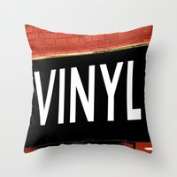 vinyl Throw Pillows featuring Vinyl by Biff Rendar