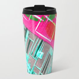 Abstract Woodcut #1 in Pink and Aqua Travel Mug