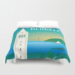 Berkeley, California - Skyline Illustration by Loose Petals Duvet Cover