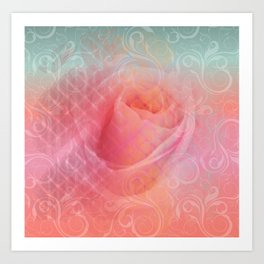 Peachy Rose Art Print