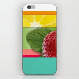 Bright Multicolor Stripes & Fruit Lemon Strawberry iPhone Skin