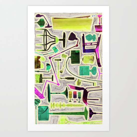 Modern Furniture Collage Art Print