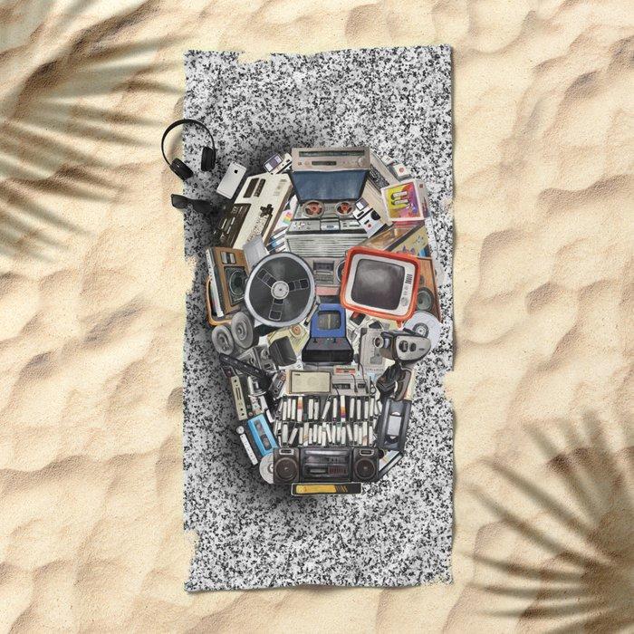 retro tech skull 5 Beach Towel