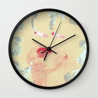 cigarettes Wall Clocks featuring Delicious Cigarettes by Dustin Davis