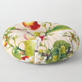 White apple blossoms and apples Floor Pillow