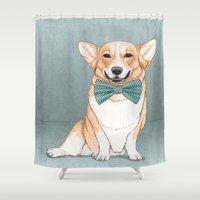 corgi Shower Curtains featuring Corgi Dog by Barruf