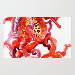 Seahorse, Coral red Scarlet Artwork Rug