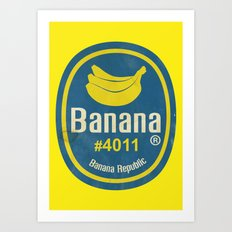 Banana Sticker On Yellow Art Print