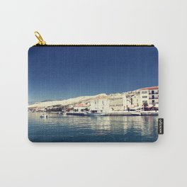 White and dark blue Carry-All Pouch