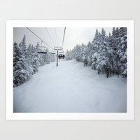 skiing Art Prints featuring Skiing Vermont by BACK to THE ROOTS
