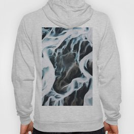 Aerial of an abstract River in Iceland Hoody