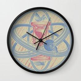 Time Infinity System. Orbit, sandglass, scarab, cicada, mantis. Engraving illustration. Part 1. Wall Clock