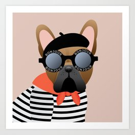 French Bulldog Bonjour Sunglasses Art Print