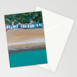 Iconic beach huts on a beach in Australia aerial landscape Stationery Cards
