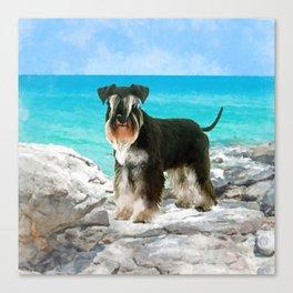 Miniature Schnauzer on the beach Watercolor Canvas Print