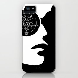 Girl with wiccan symbol- sigil of baphomet iPhone Case