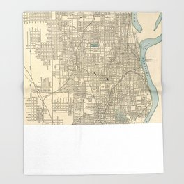 Vintage Map of Omaha Nebraska (1901) Throw Blanket